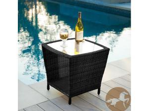 Christopher Knight Home Weston Black Outdoor Wicker Side Table with Glass Top