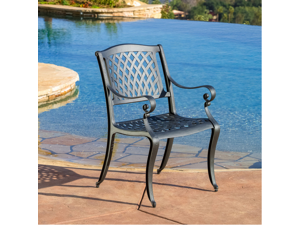 Christopher Knight Home 'Hallandale' Black Sand Cast Aluminum Outdoor Chair (Set of 2)