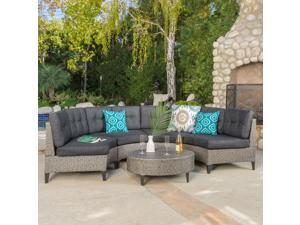 Navagio Outdoor 5-piece Wicker Sofa Set with Cushions by Christopher Knight Home