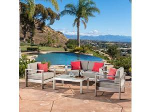 Cape Coral Outdoor Aluminum 4-piece Loveseat Set with Cushions by Christopher Knight Home