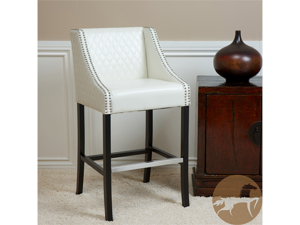 Christopher Knight Home 281729 Milano White Quilted Leather Bar Stool