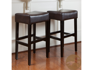 Christopher Knight Home 2-Piece Backless Leather Barstools (Espresso)