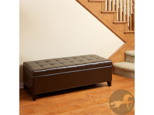 Christpoher Knight Home Mission Brown Tufted Leather Storage Ottoman Bench