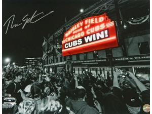 Schwartz Sports Memorabilia EPS16P103 16 x 20 in. Theo Epstein Signed Chicago Cubs Wrigley Field Marquee Cubs Win Spotlight Photo