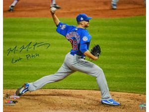 Schwartz Sports Memorabilia MON16P125 16 x 20 in. Mike Montgomery Signed Chicago Cubs 2016 World Series Game 7 Final Pitch Photo with Last Pitch