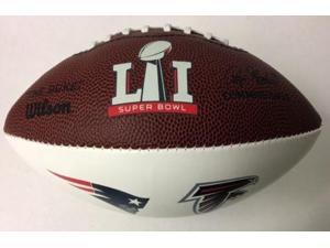 WILSONF1691SB51TEAMS Wilson NFL Mini 3 White Panel Autograph Football with Patriots and Falcons Logo's - F1691