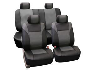 FH-PU003114 FH Group PU Leather Racing Style Full Set Airbag Safe & Split Bench Cover Gray / Black