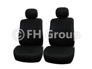 Pair Bucket Fabric Seat Covers w. Detachable Headrest Black