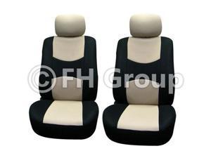 Pair Bucket Fabric Seat Covers w. Detachable Headrest Beige & Black