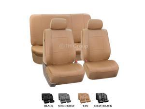 FH-PU001112 FH Group PU Leather Complete Set Car Seat Covers for 2 Buckets and Solid Bench Tan