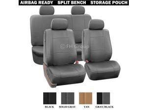 PU Leather Seat Covers Airbag Compatible & Rear Split W. 4 Headrests