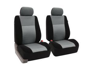 FH Group FB060102 Premium Fabric Car Seat Covers Front Bucket Covers Airbag Safe - Gray / Black