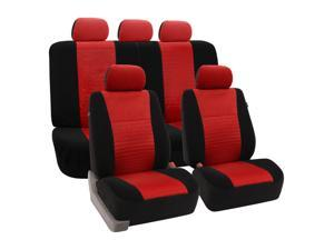 Fishnet Stitching Seat Covers Airbag Ready & Rear Split w. 5 Headrests Red