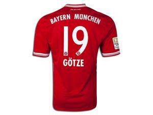 Men's 2013/14 FC Bayern Munich Mario Götze 19 Red Home Soccer Jersey (US Size Medium)