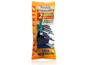 Schick Disposable 10 Twin Blade Razors + 2 Bonus Razors