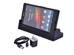 Black Sync Desktop Charger Cradle Dock Station + AC Charger + Data Cable for Sony Xperia Z L36h C6603/SO-02E