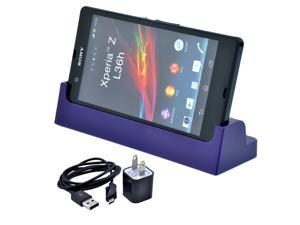 Purple Sync Desktop Charger Cradle Dock Station + AC Charger + Data Cable for Sony Xperia Z L36h C6603/SO-02E
