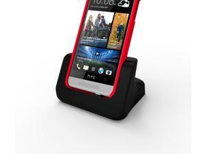 Case compatible USB Desktop Dock Cradle Charger Black for HTC One Mini