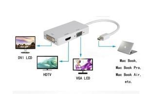 New White 3 in 1 Thunderbolt Mini Display Port DP to DVI VGA HDMI Male to Female Adapter Cable Converter for Apple iMac Mac ...
