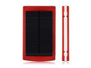 New Red 10000mAh Solar Power Panel Dual USB External Portable Mobile Battery Charger Power Bank Pack For iPhone 5S 5C 5 4S ...