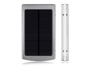 New Silver 10000mAh Solar Power Panel Dual USB External Portable Mobile Battery Charger Power Bank Pack For iPhone 5S 5C ... - OEM