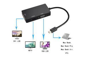 New Black 3 in 1 Thunderbolt Mini Display Port DP to DVI VGA HDMI Male to Female Adapter Cable Converter for Apple iMac Mac ...