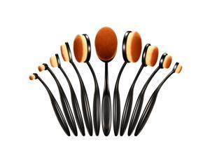 10-piece Makeup Brushes with Soft Bristles, Oval Toothbrush-shaped Design, Bendable and Durable Handles, Smoother & Easier Makeup