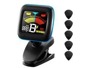 2-in-1 Clip-on Electronic Pitch Tuner and Metronome for Guitar, Bass, Violin, Ukulele, and Chromatic Tuning with 5 Picks, Colorful Display, Battery Included