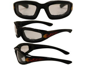 Birdz Oriole Flame Design Motorcycle Glasses with Clear Shatterproof Anti-Fog Polycarbonate Lenses and Wind Blocking Foam