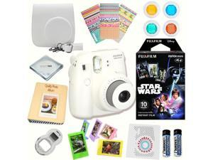 Fujifilm Instax Mini 8 (White) Deluxe kit bundle Includes: - Instant camera with Instax mini 8 instant films 10 pack (Star Wars) - Custom Camera Case - instax Photo Album - Frames - Stickers - Close u