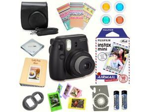 Fujifilm Instax Mini 8 (Black) Deluxe kit bundle Includes: - Instant camera with Instax mini 8 instant films 10 pack (Air Mail) - Custom Camera Case - instax Photo Album - Frames - Stickers - Close up