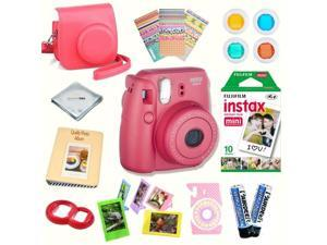 Fujifilm Instax Mini 8 (Raspberry) Deluxe kit bundle Includes: - Instant camera with Instax mini 8 instant films (10 pack) - Custom Camera Case - instax Photo Album - Frames - Stickers - Close up lens