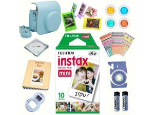 Fujifilm instax mini 8 accessories KIT BLUE includes - instant film 10 pack +  deluxe bundle for fujifilm instax mini 8 camera