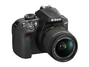 "Nikon 1571 D3400 24.2 Megapixel Digital SLR Camera with Lens - 18 mm - 55 mm - Black - 3"" LCD - 16:9 - 3.1x Optical Zoom - Optical (IS) - TTL - 6000 x 4000 Image - 1920 x 1080 Video - HDMI - HD ..."