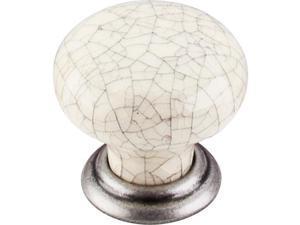 Top Knobs M100 1-3/8 Inch Diameter Pewter Antique & Bone Crackle Mushroom Cabine