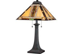 "Quoizel TFNO6325 Navajo 2 Light 25"" Tall Table Lamp with Tiffany Glass Shade, Valiant Bronze"