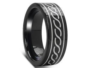 8MM Black Men's Tungsten Ring with Laser Etched Tribal Design