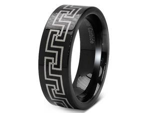 Black Laser Etched Celtic Design 8mm Tungsten Carbide Wedding Band Ring