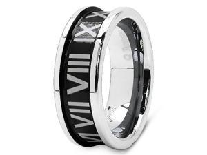 Tungsten Carbide 8MM Roamn Number Men's Fashion Band Ring