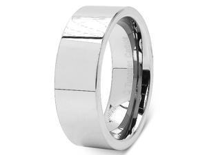 Tungsten Carbide Flat Polished 8mm Comfort Fit Men's Dome Wedding Band Ring