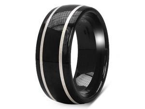 8MM Dome Men's Black Tungsten Carbide Ring Wedding Band