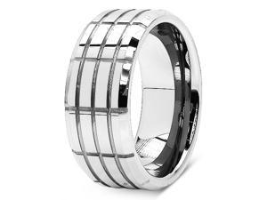 Tungsten Carbide 9MM Grooved High Polished Wedding Ring Band