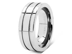 8MM Tungsten Carbide Double Groove High Polish / Matte Finish Wedding Ring