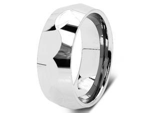 8MM Men's Multi-faceted Tungsten Carbide Men's Wedding Ring Band