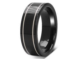 Black-plated Tungsten Carbide 8mm Laser Line Band Ring