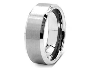Beveled Edge Center Brushed Finish 8mm Comfort Fit Mens Tungsten Carbide Wedding Band Ring