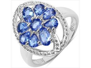 1.50 Carat Genuine Tanzanite Sterling Silver Ring