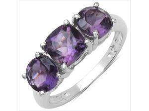 2.68 Carat Genuine Amethyst Sterling Silver Ring