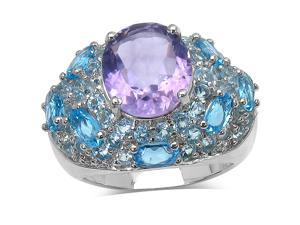 9.99 Carat Genuine Amethyst, Blue Topaz & White Topaz Sterling Silver Ring