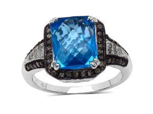 4.10 Carat Genuine Baby Swiss Blue Topaz & Multi Diamond Sterling Silver Ring